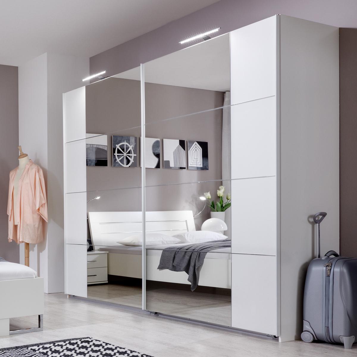 schwebet renschrank masu kleiderschrank in wei mit spiegel 225 cm. Black Bedroom Furniture Sets. Home Design Ideas
