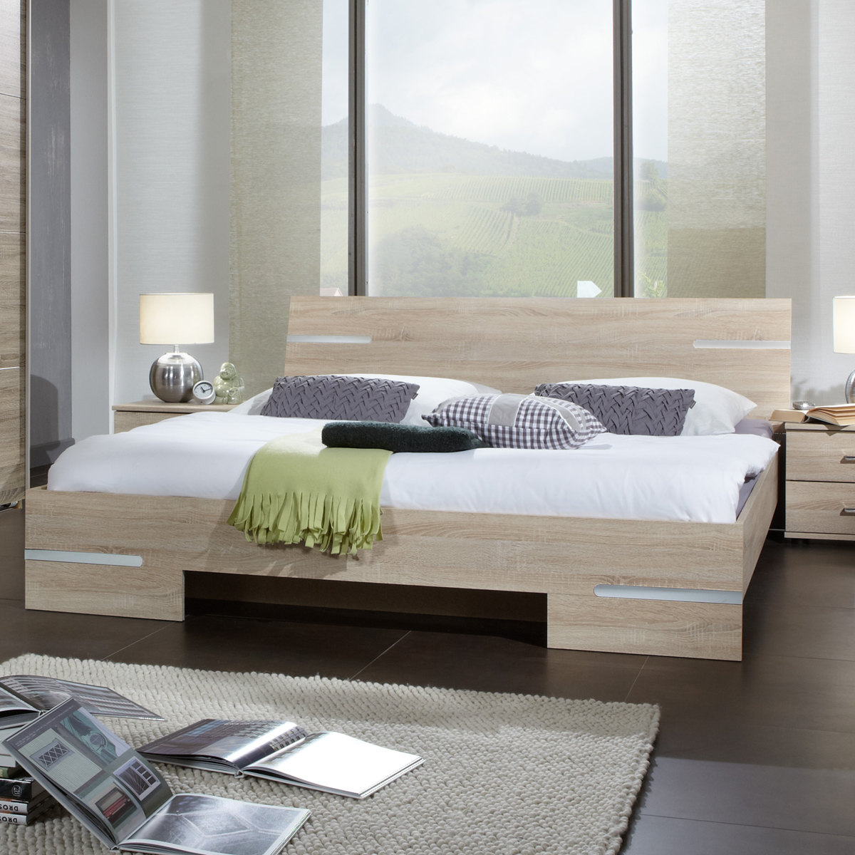 futonbett astera bett futon in sonoma eiche s gerau chrom 180x200 ebay. Black Bedroom Furniture Sets. Home Design Ideas