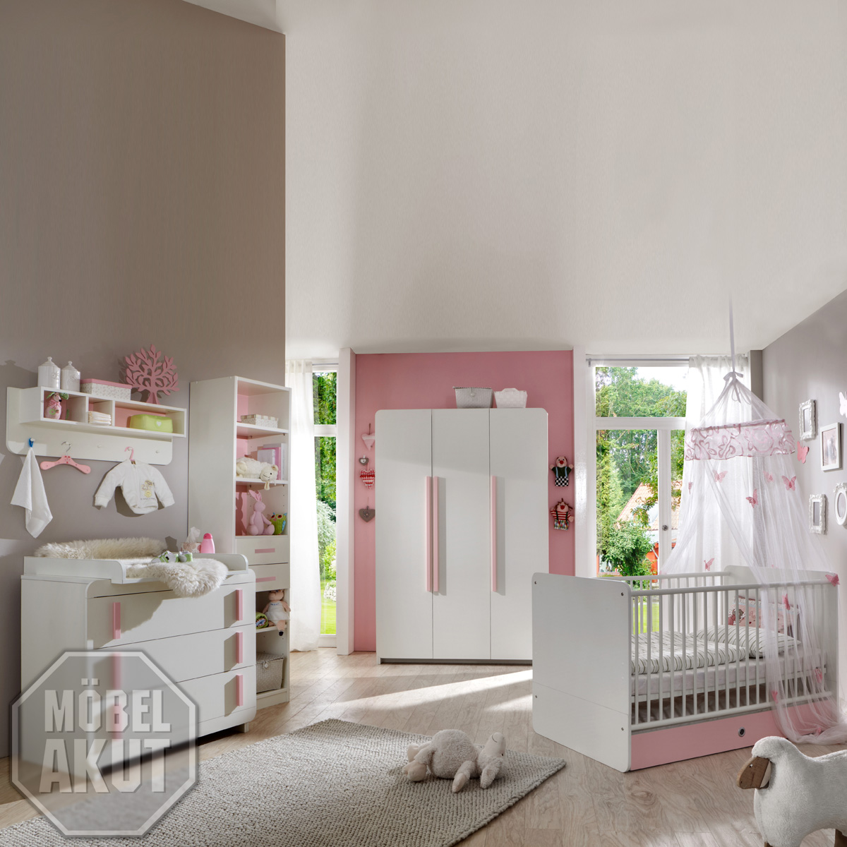 babyzimmer set maja 4 teilig baby schrank bett wei ros ebay. Black Bedroom Furniture Sets. Home Design Ideas