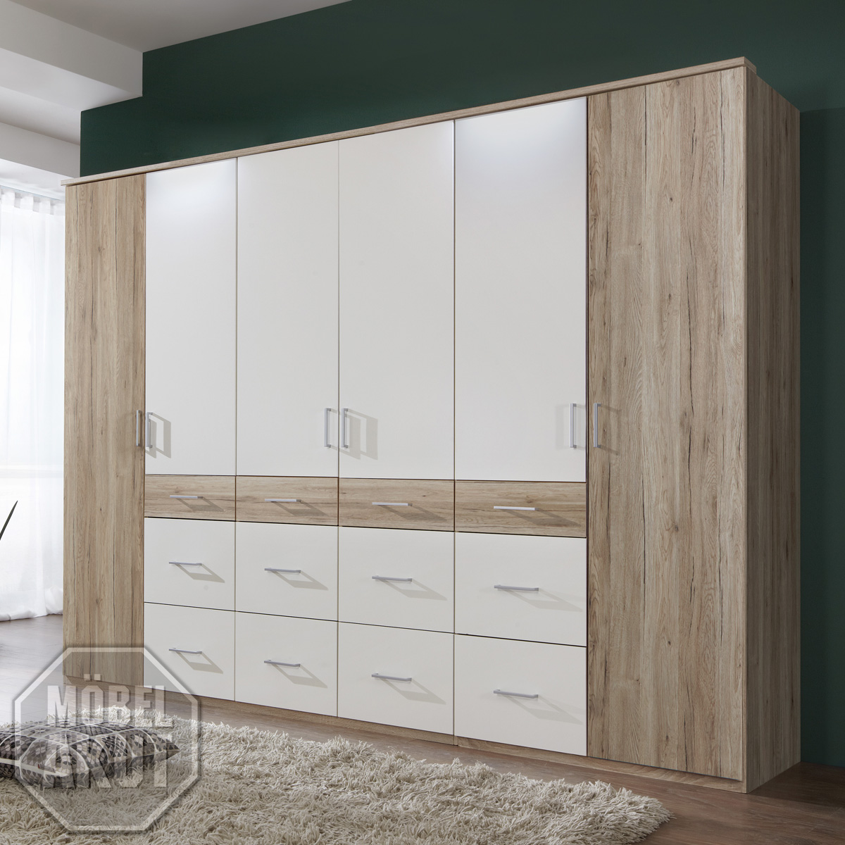 kleiderschrank click 2 schrank in san remo eiche wei 270 cm ebay. Black Bedroom Furniture Sets. Home Design Ideas