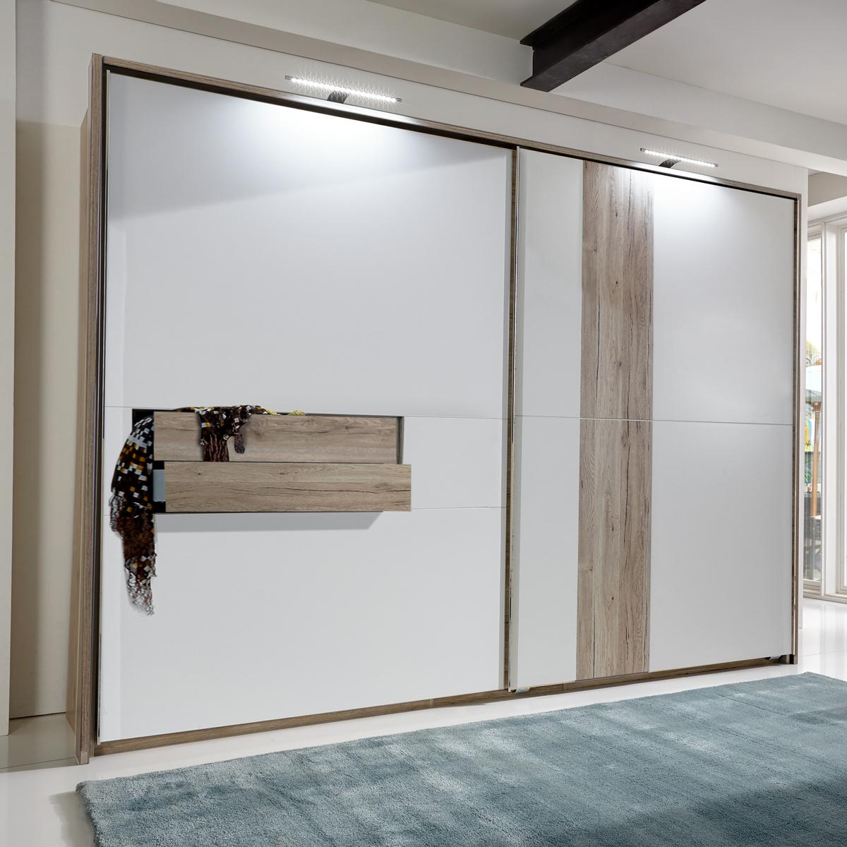 schwebet renschrank diva 300cm wei und san remo eiche mit passepartout. Black Bedroom Furniture Sets. Home Design Ideas