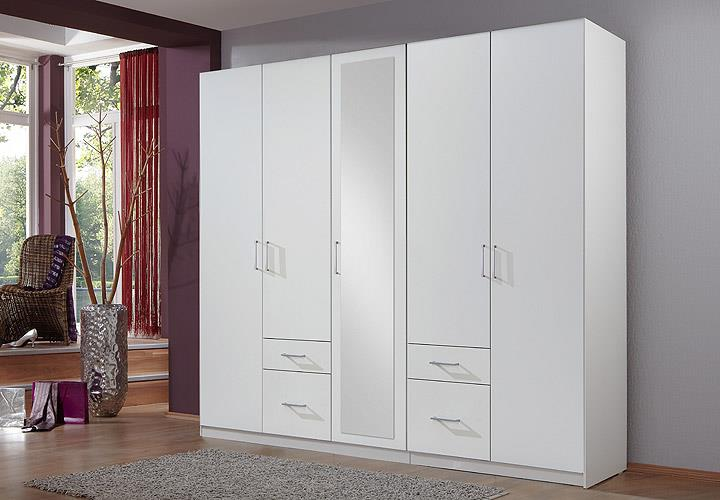kleiderschrank fly schrank schlafzimmer wei mit spiegel b 225 cm ebay. Black Bedroom Furniture Sets. Home Design Ideas