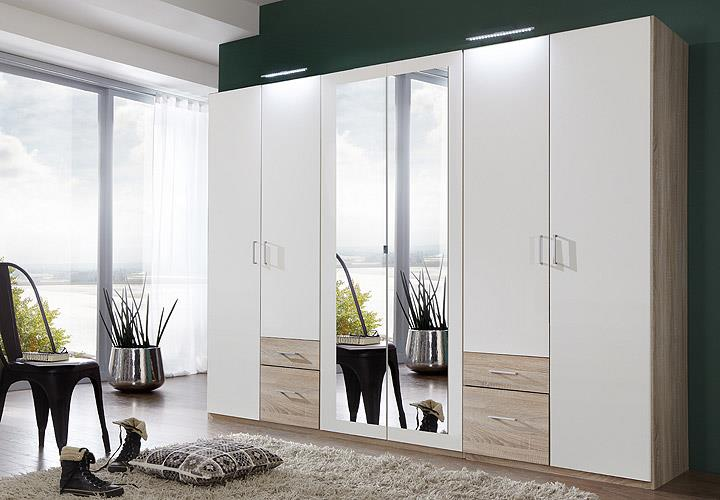 kleiderschrank fly schrank schlafzimmer wei eiche s gerau mit spiegel b 270 cm ebay. Black Bedroom Furniture Sets. Home Design Ideas