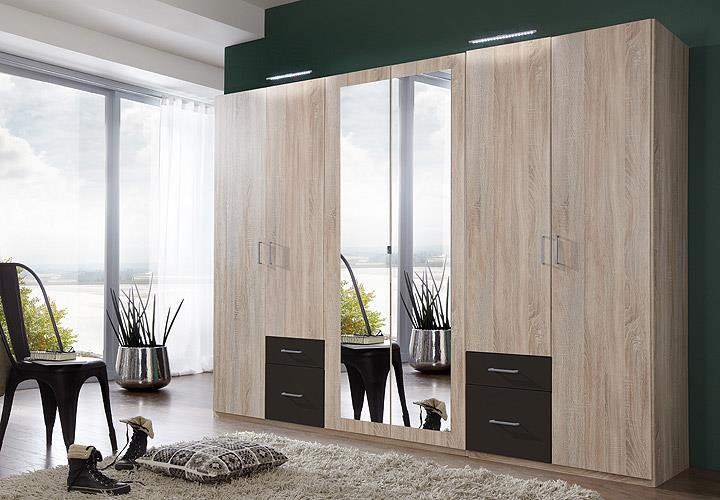 kleiderschrank fly schrank schlafzimmer eiche s gerau lava mit spiegel b 270 cm. Black Bedroom Furniture Sets. Home Design Ideas