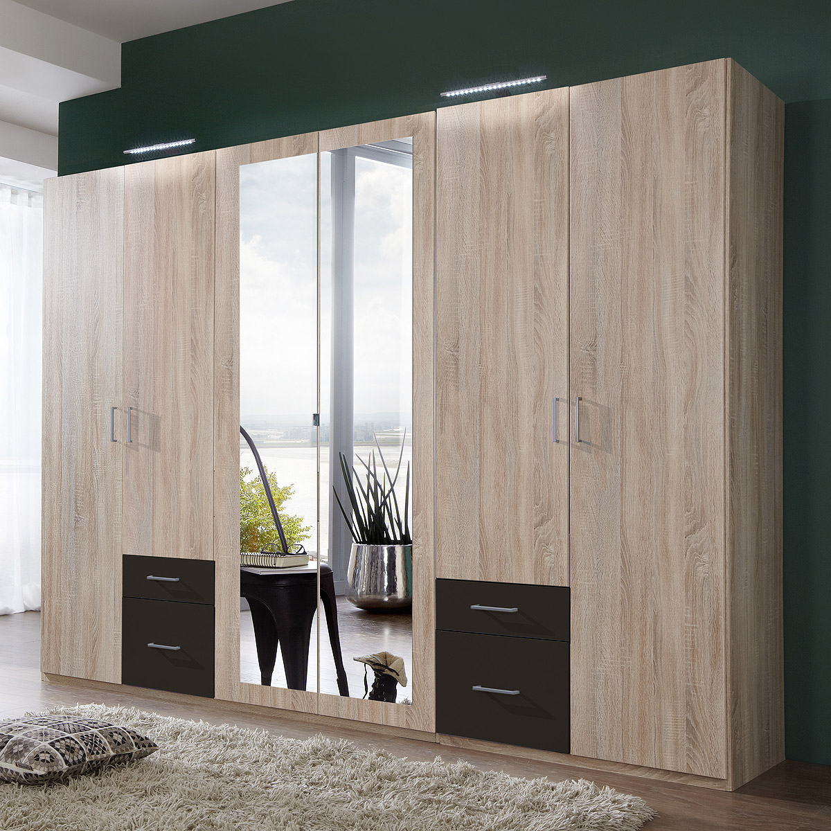 kleiderschrank fly schrank schlafzimmer eiche s gerau lava mit spiegel b 270 cm ebay. Black Bedroom Furniture Sets. Home Design Ideas
