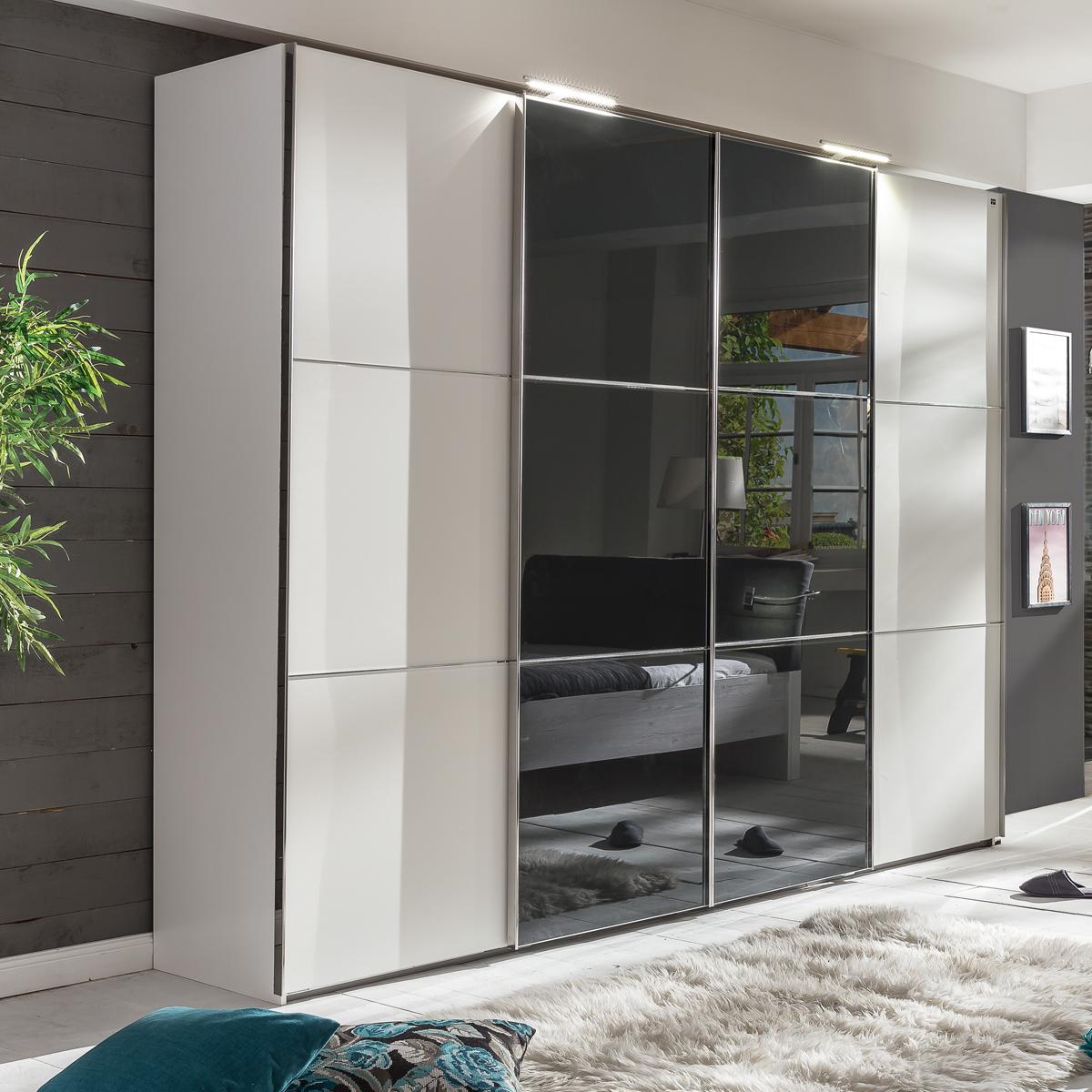 schwebet renschrank escape alpinwei kleiderschrank mit glasfront grau 300 cm ebay. Black Bedroom Furniture Sets. Home Design Ideas