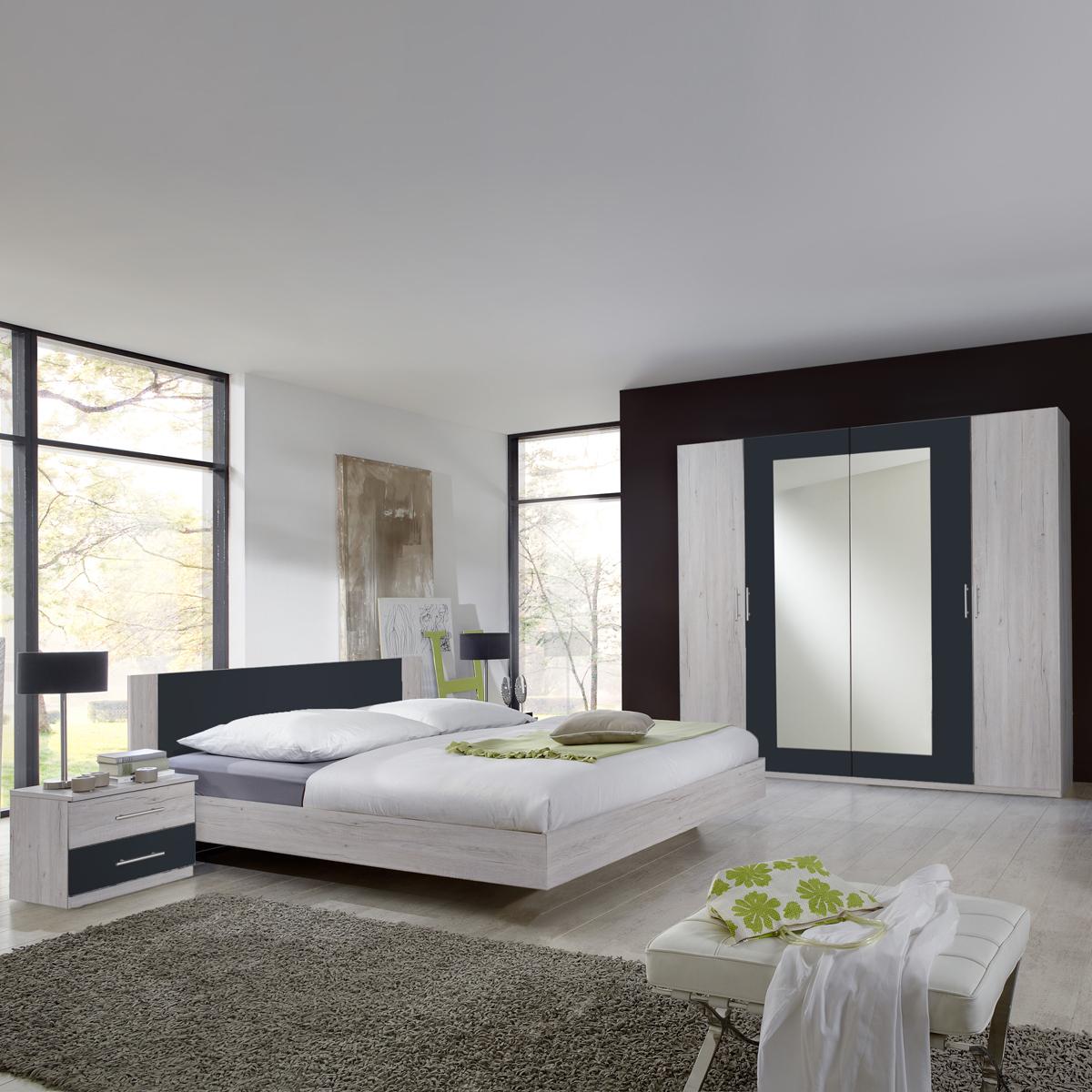 Schlafzimmer franziska weißeiche anthrazit bett schrank ...