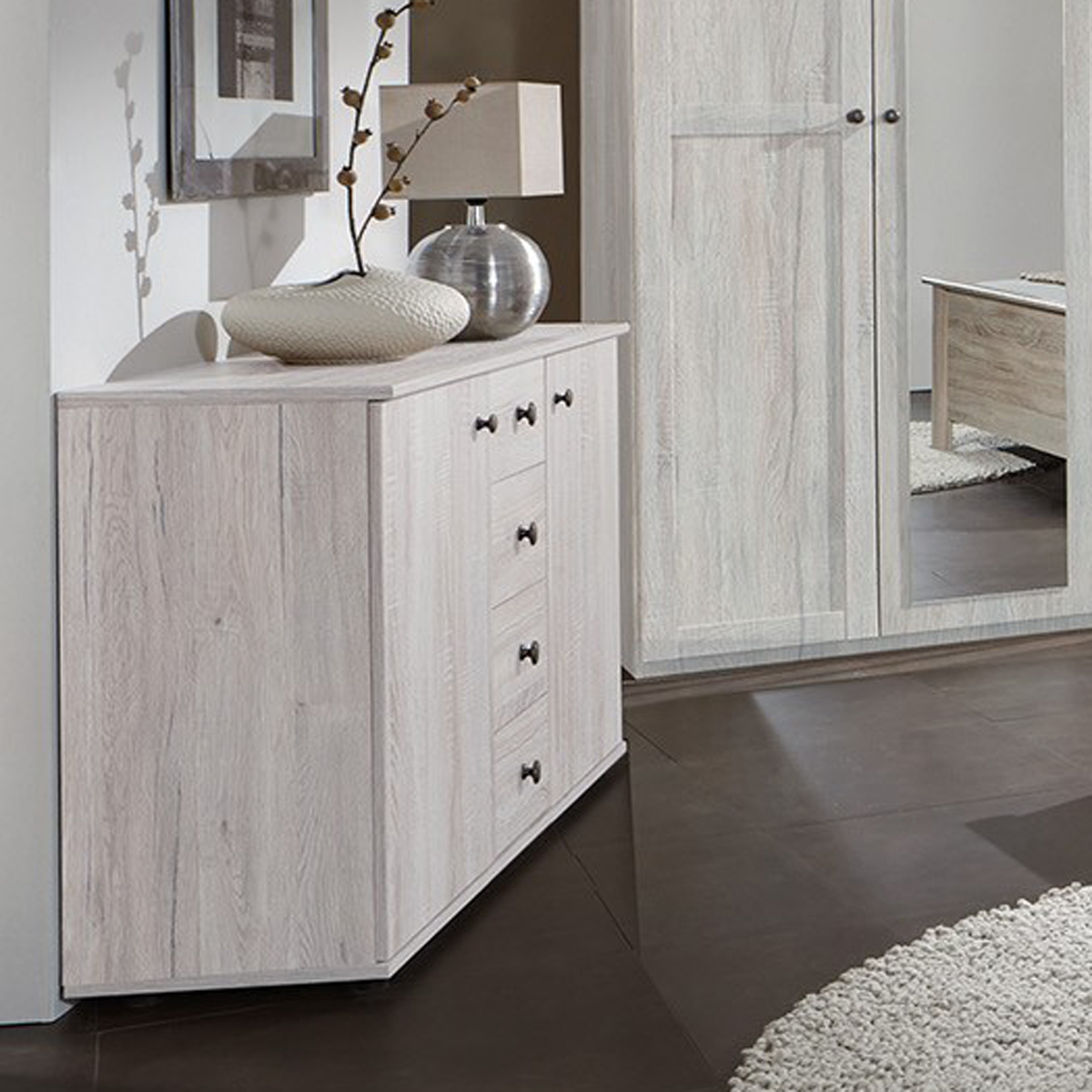 kombikommode chalet schubkastenkommode schrank kommode wei eiche. Black Bedroom Furniture Sets. Home Design Ideas