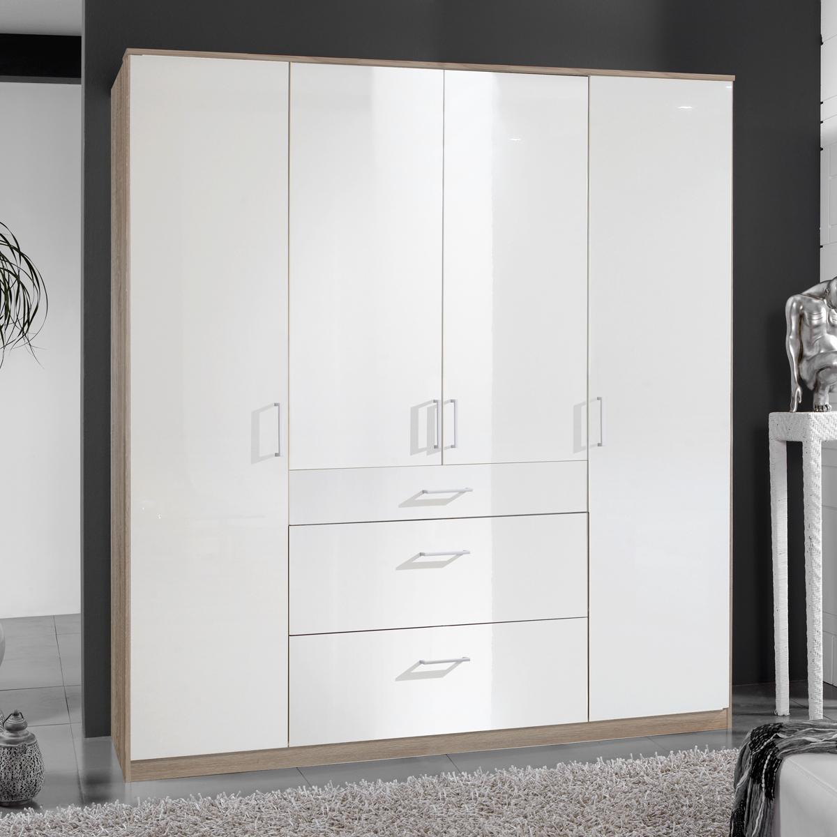 kleiderschrank clack schlafzimmer dreht renschrank in hochglanz wei eiche 180cm ebay. Black Bedroom Furniture Sets. Home Design Ideas