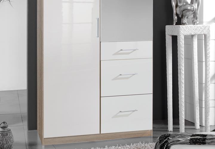 Kleiderschrank Weiß Hochglanz Mit Spiegel ~ Kleiderschrank Clack Drehtürenschra nk in hochglanz weiß Eiche mit