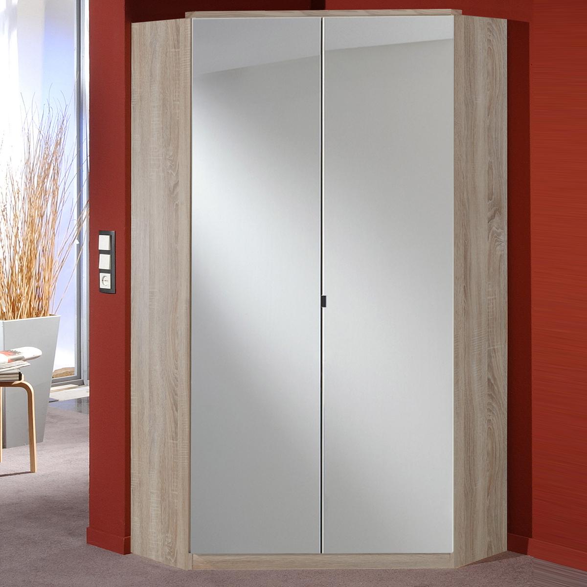eckschrank clack schlafzimmer dreht renschrank mit spiegelfront in eiche ebay. Black Bedroom Furniture Sets. Home Design Ideas