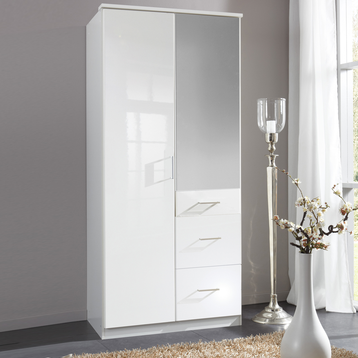 kleiderschrank clack dreht renschrank in hochglanz wei alpinwei spiegel 90 cm ebay. Black Bedroom Furniture Sets. Home Design Ideas