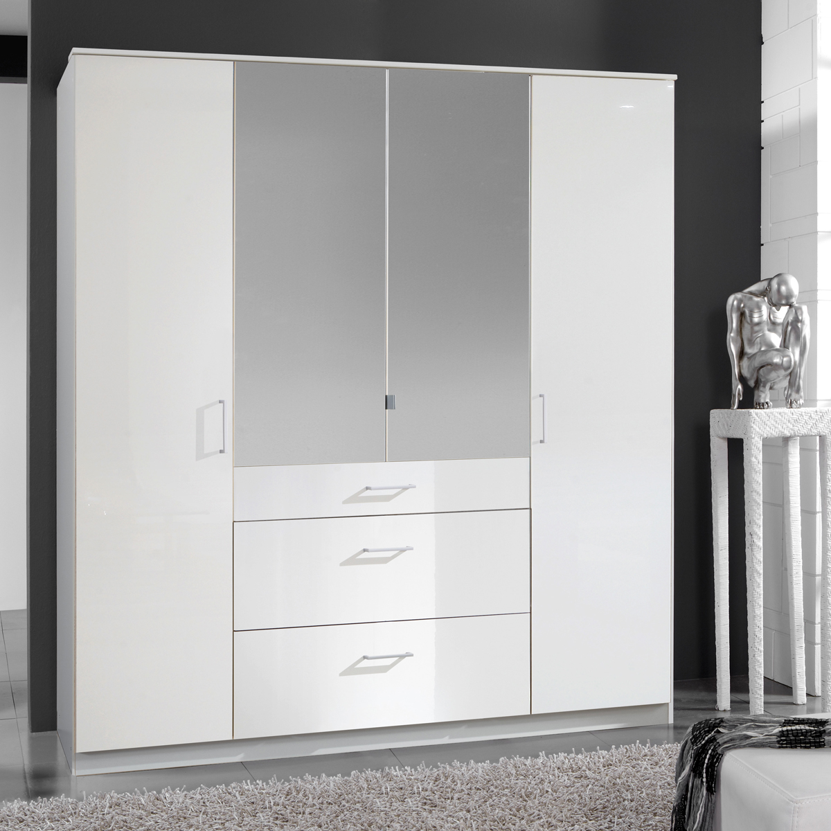 kleiderschrank clack dreht renschrank in hochglanz wei alpinwei spiegel 180 cm. Black Bedroom Furniture Sets. Home Design Ideas