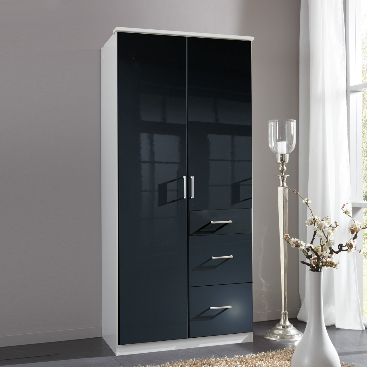 kleiderschrank clack dreht renschrank in hochglanz schwarz alpinwei 90 cm ebay. Black Bedroom Furniture Sets. Home Design Ideas