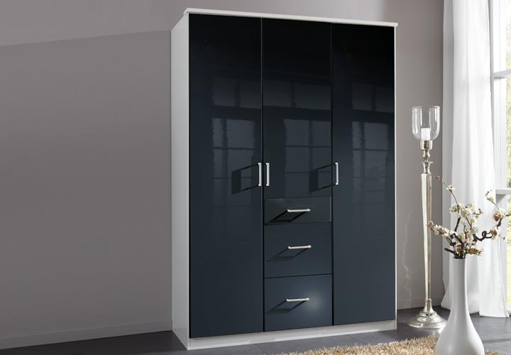 kleiderschrank clack dreht renschrank in hochglanz schwarz alpinwei 135 cm. Black Bedroom Furniture Sets. Home Design Ideas