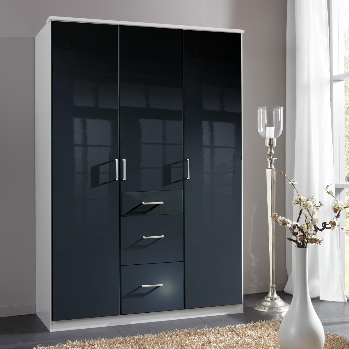 kleiderschrank clack dreht renschrank in hochglanz schwarz alpinwei 135 cm. Black Bedroom Furniture Sets. Home Design Ideas