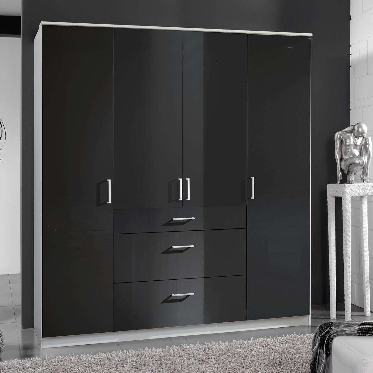 kleiderschrank clack dreht renschrank in hochglanz schwarz alpinwei 180 cm ebay. Black Bedroom Furniture Sets. Home Design Ideas