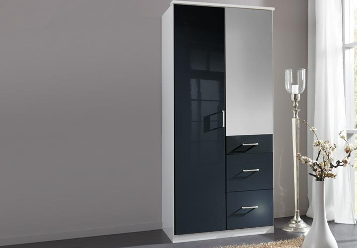 kleiderschrank clack dreht renschrank hochglanz schwarz alpinwei spiegel 90 cm ebay. Black Bedroom Furniture Sets. Home Design Ideas