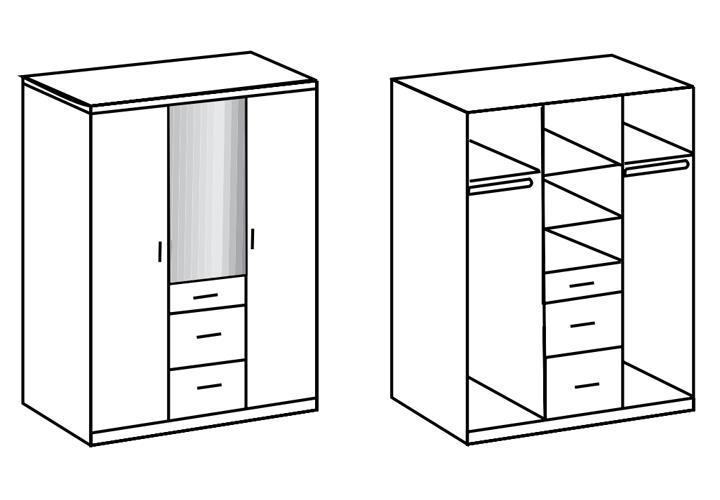kleiderschrank clack dreht renschrank hochglanz schwarz alpinwei spiegel 135 cm ebay. Black Bedroom Furniture Sets. Home Design Ideas