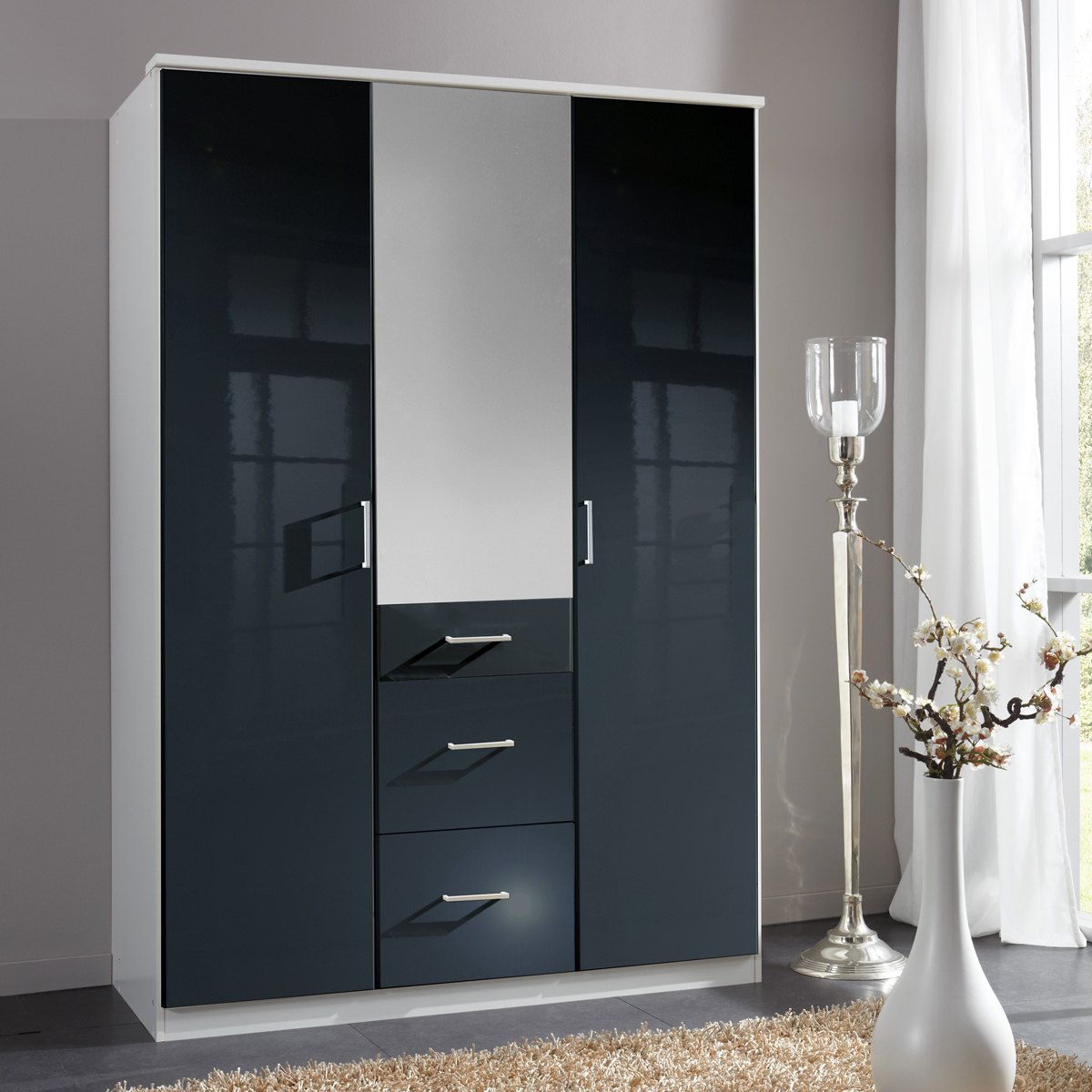 kleiderschrank clack dreht renschrank hochglanz schwarz alpinwei spiegel 135 cm ebay. Black Bedroom Furniture Sets. Home Design Ideas