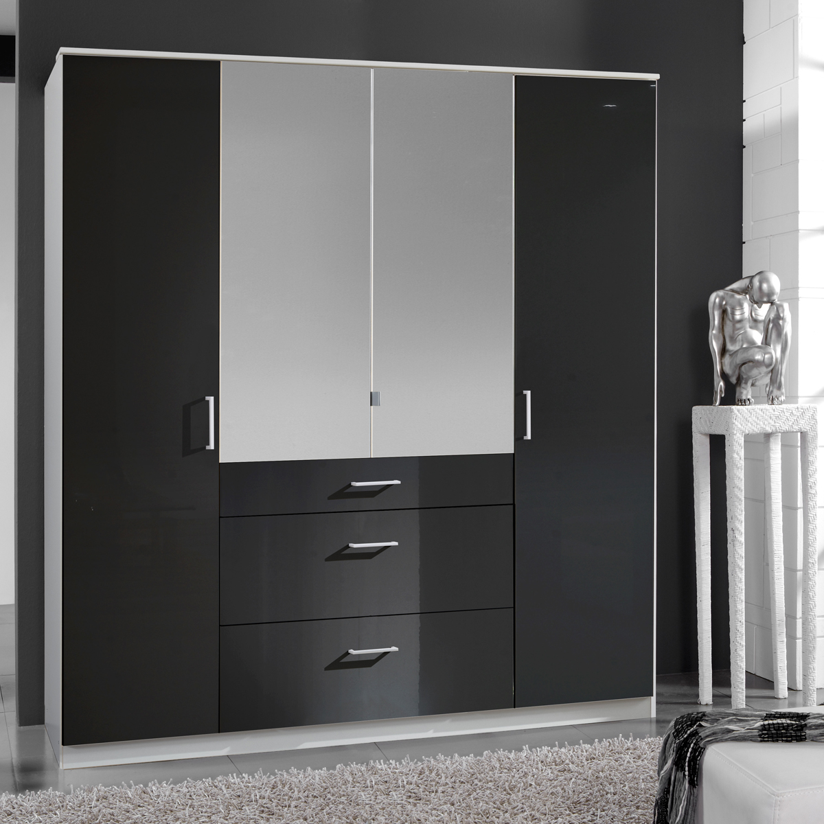 kleiderschrank clack dreht renschrank hochglanz schwarz alpinwei spiegel 180 cm. Black Bedroom Furniture Sets. Home Design Ideas