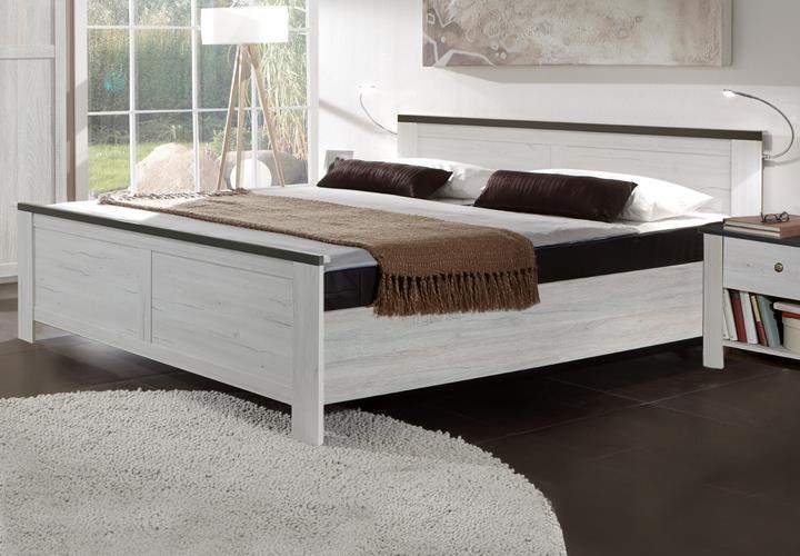 bett chateau 180x200 cm schlafzimmer doppelbett in wei eiche ebay. Black Bedroom Furniture Sets. Home Design Ideas