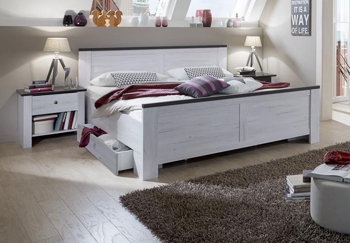 schlafzimmer kombi 2 chateau mit bett und nachtkommoden schrank in wei eiche ebay. Black Bedroom Furniture Sets. Home Design Ideas