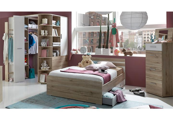 jugendzimmer set joker bett 140x200 san remo eiche wei kleiderschrank begehbar ebay. Black Bedroom Furniture Sets. Home Design Ideas