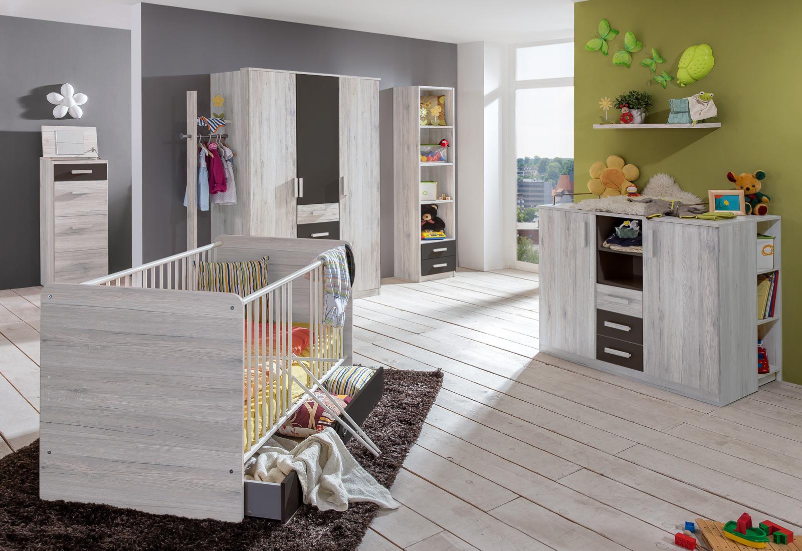 babyzimmer cariba 4 set 9 teilig wei eiche babybett wickelkommode kleiderschrank ebay. Black Bedroom Furniture Sets. Home Design Ideas