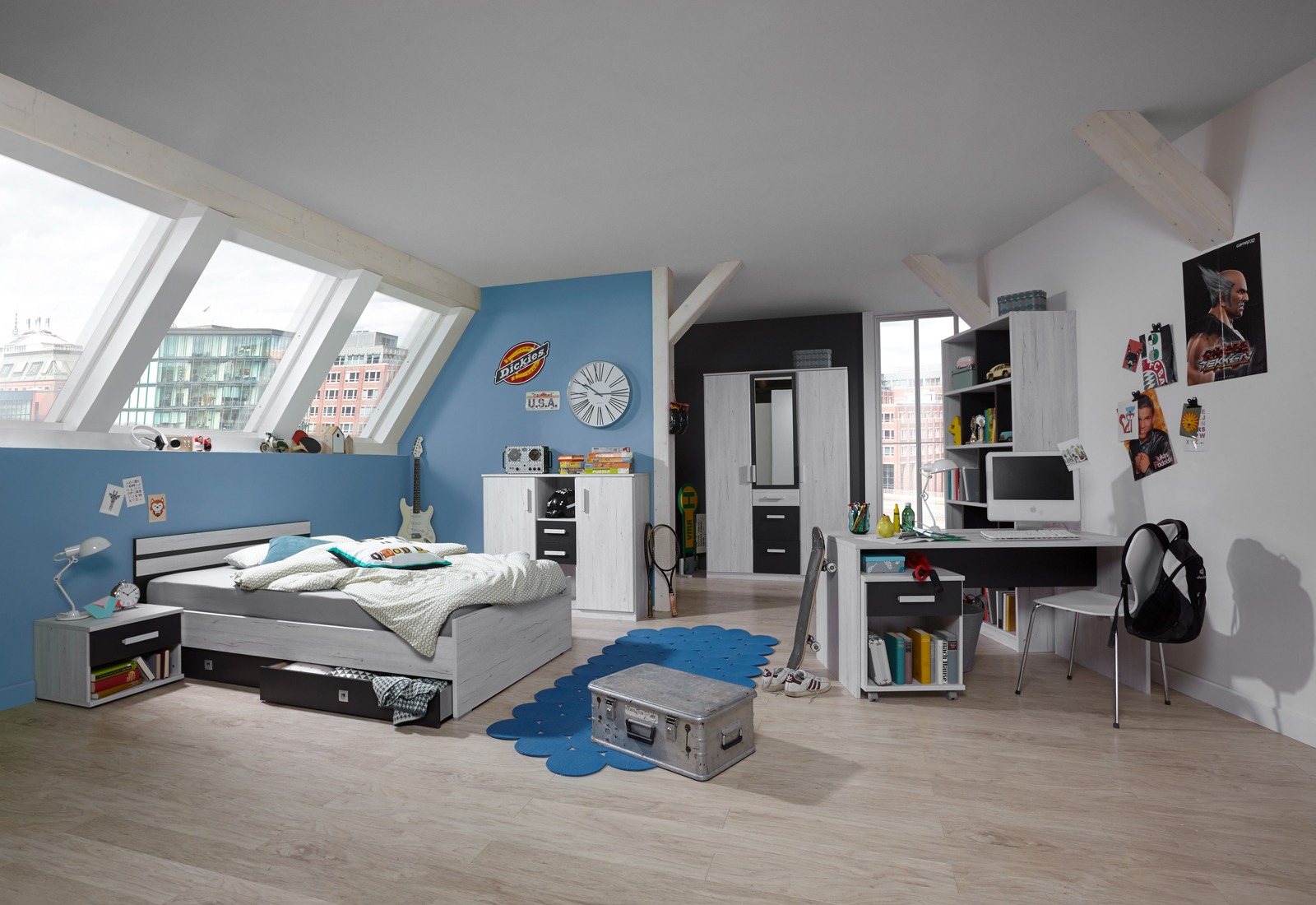 jugendzimmer set 2 cariba 8 tlg in wei eiche absetzungen. Black Bedroom Furniture Sets. Home Design Ideas