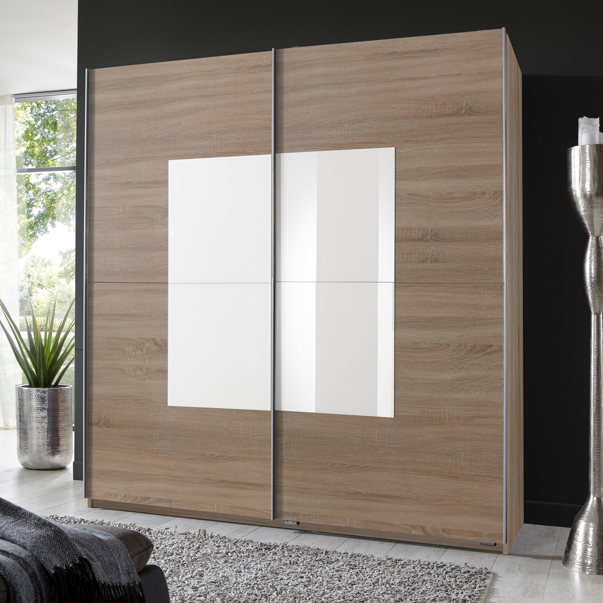 kleiderschrank taro schwebet renschrank eiche s gerau abs wei es glas ebay. Black Bedroom Furniture Sets. Home Design Ideas