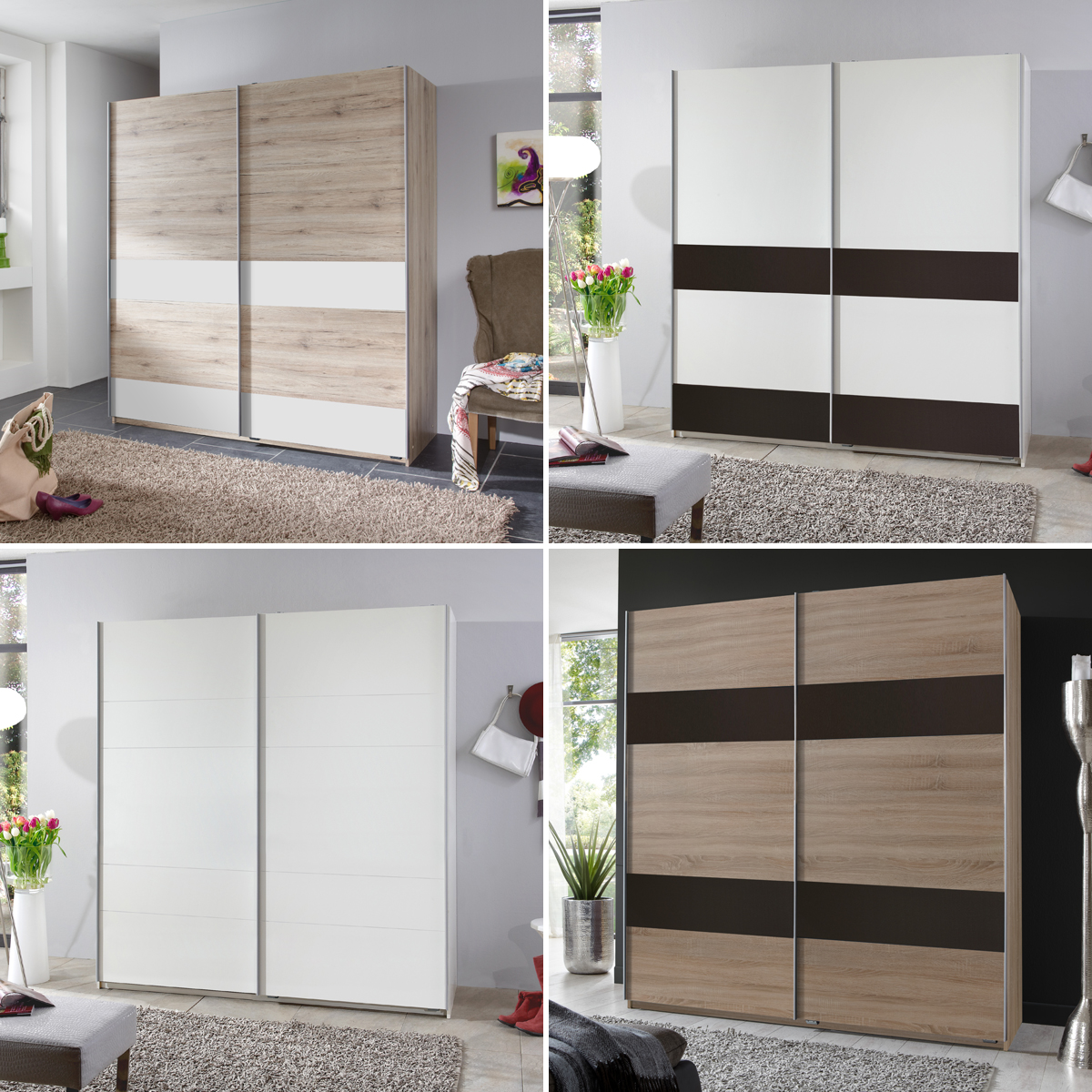 wohnwand 180 cm breit wandboard arena sonoma eiche wei. Black Bedroom Furniture Sets. Home Design Ideas