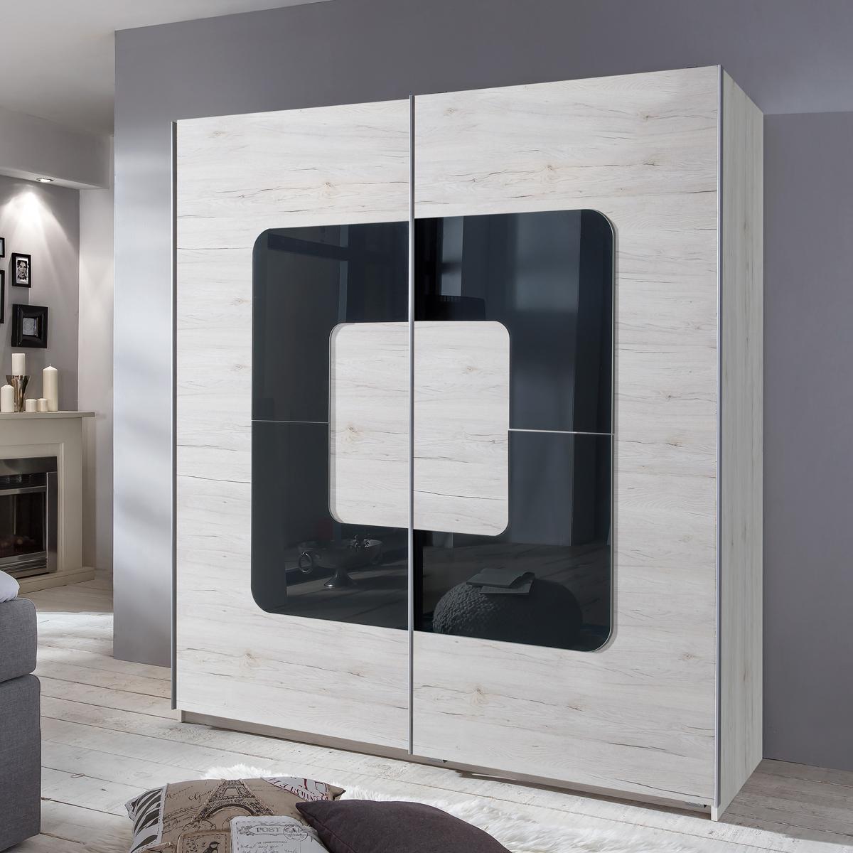 kleiderschrank curve schwebet renschrank wei eiche abs glas grey 180 cm ebay. Black Bedroom Furniture Sets. Home Design Ideas