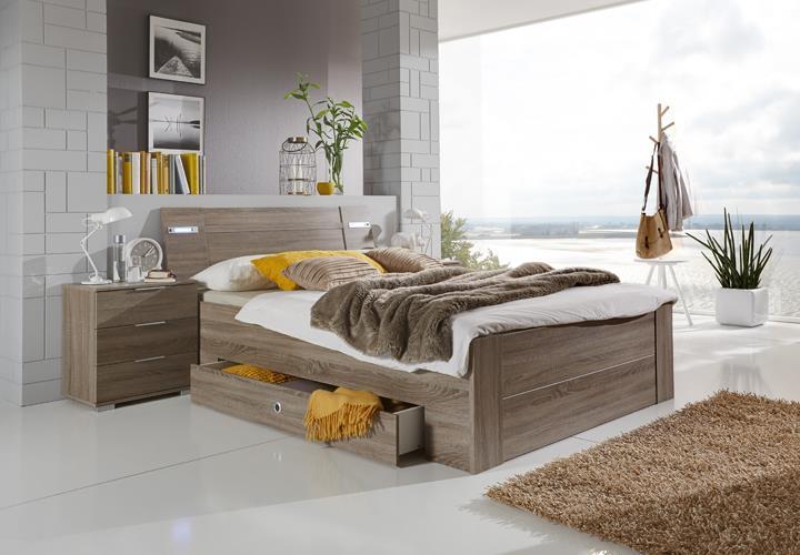 Funktionsbett match up schlafzimmer montana eiche mit led beleuchtung 140x200 cm ebay - Schlafzimmer beleuchtung led ...