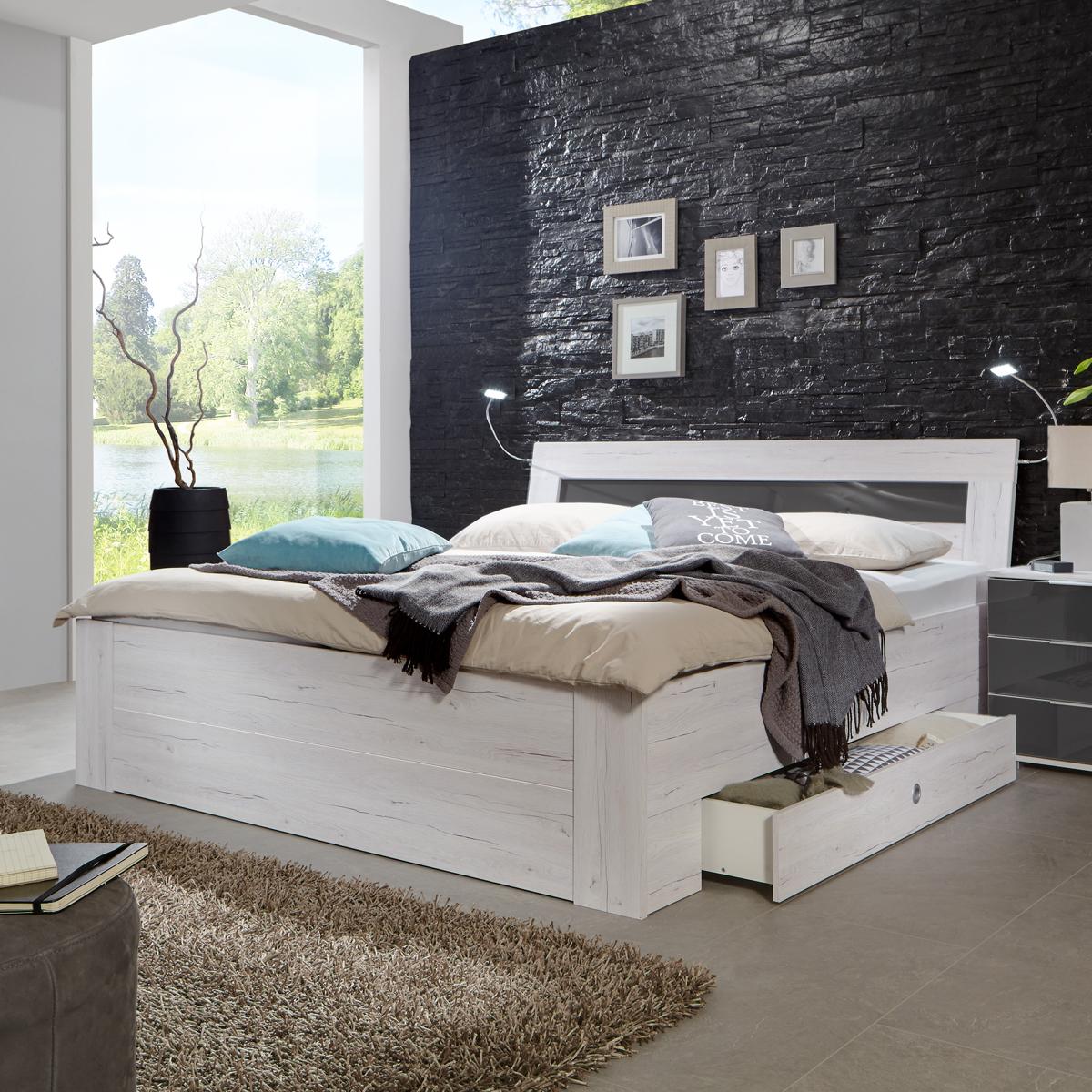 Schlafzimmer bei ebay  Funktionsbett Match Up Schlafzimmer Weißeiche Absetzung Glas Grey ...