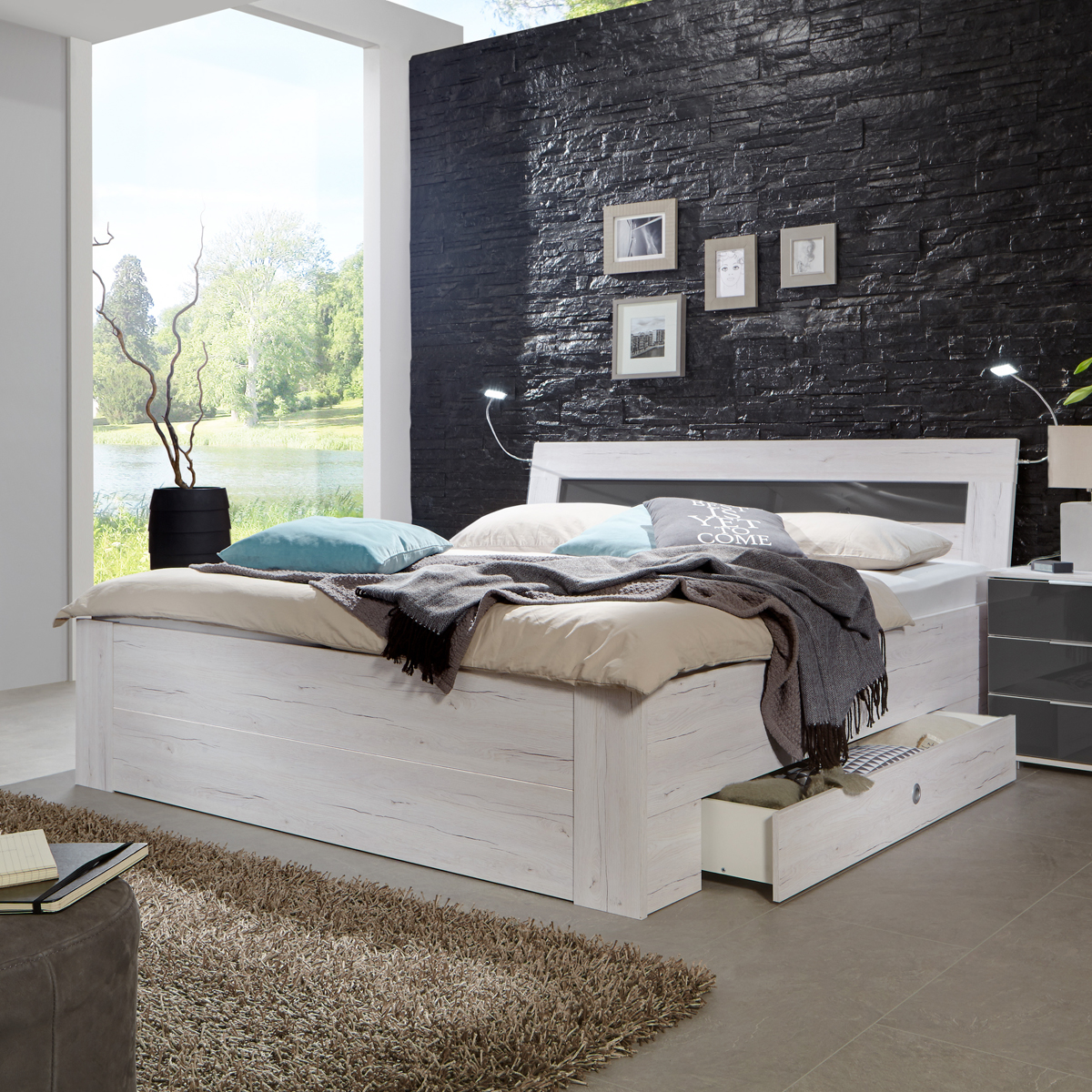 funktionsbett match up schlafzimmer wei eiche absetzung. Black Bedroom Furniture Sets. Home Design Ideas