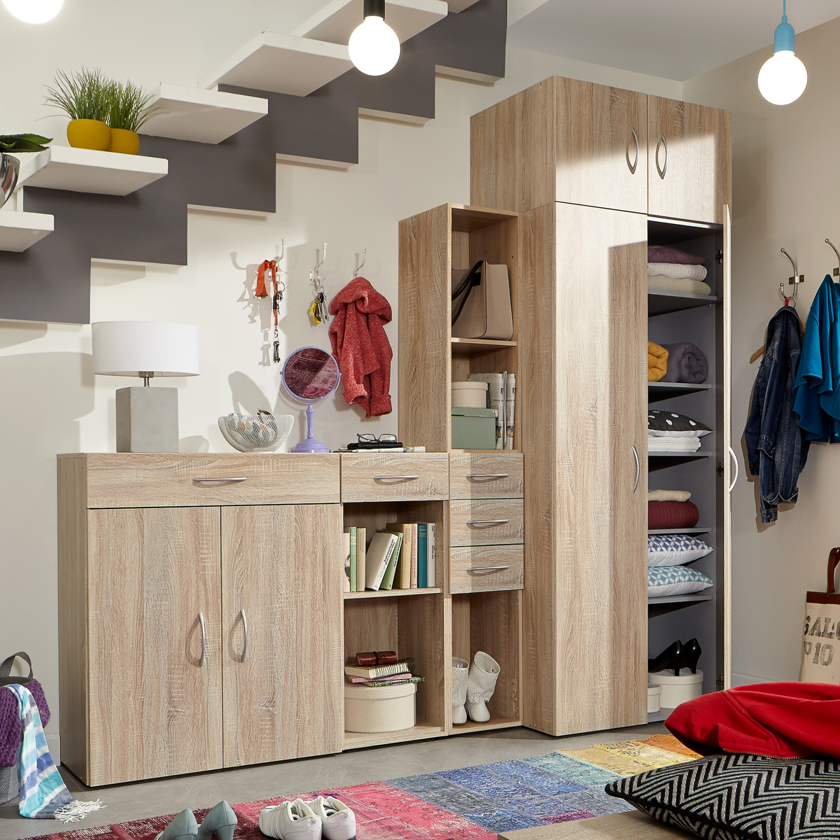 flurschrank multi room garderobe regalsystem schranksystem. Black Bedroom Furniture Sets. Home Design Ideas