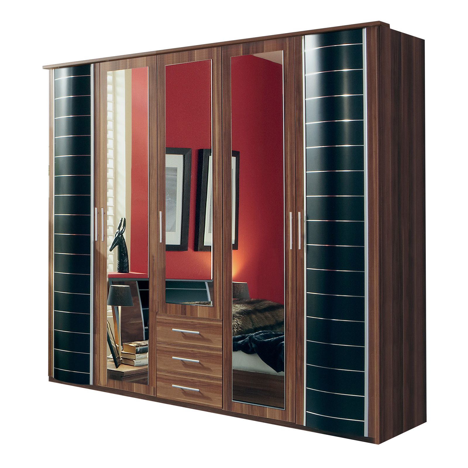 kleiderschrank yvonne schlafzimmer schrank in nussbaum schwarz 225 cm breit ebay. Black Bedroom Furniture Sets. Home Design Ideas