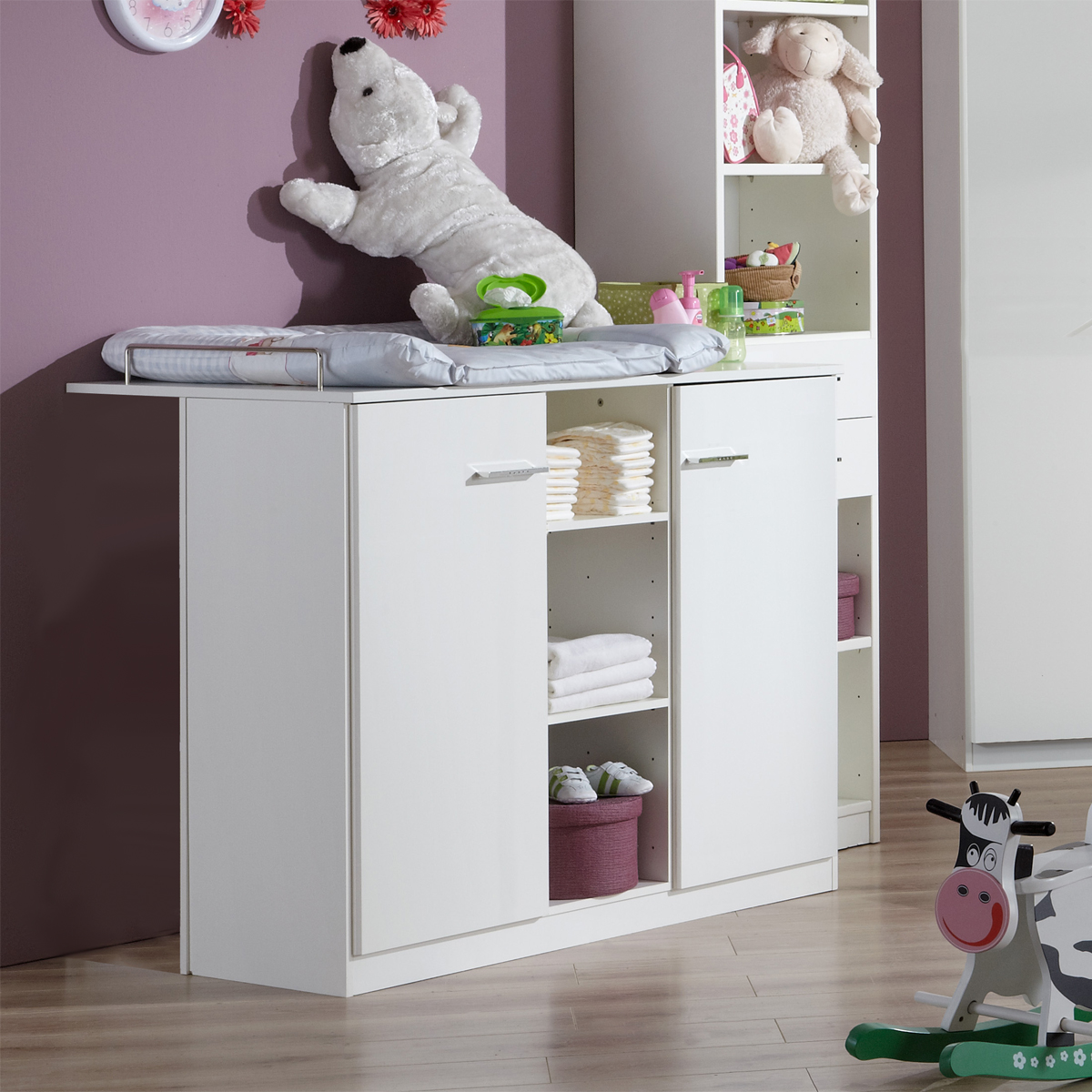 wickelkommode wei babyzimmer elena kommode mit aufsatz 2 t rig ebay. Black Bedroom Furniture Sets. Home Design Ideas