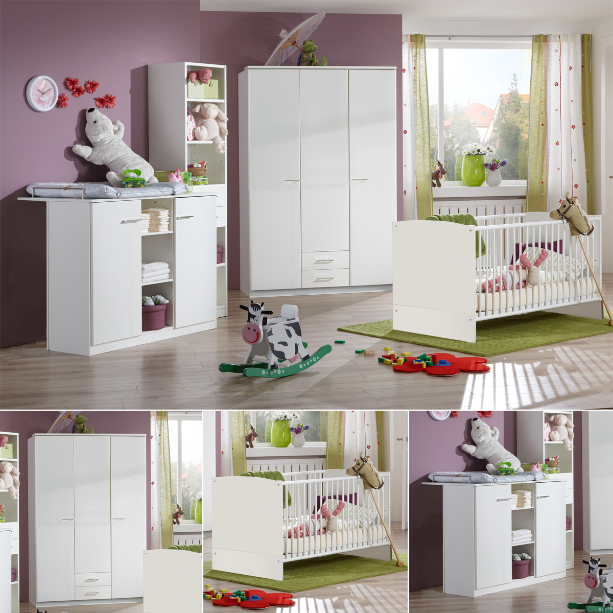 babyzimmer wei elena 3 teilig babybett schrank. Black Bedroom Furniture Sets. Home Design Ideas