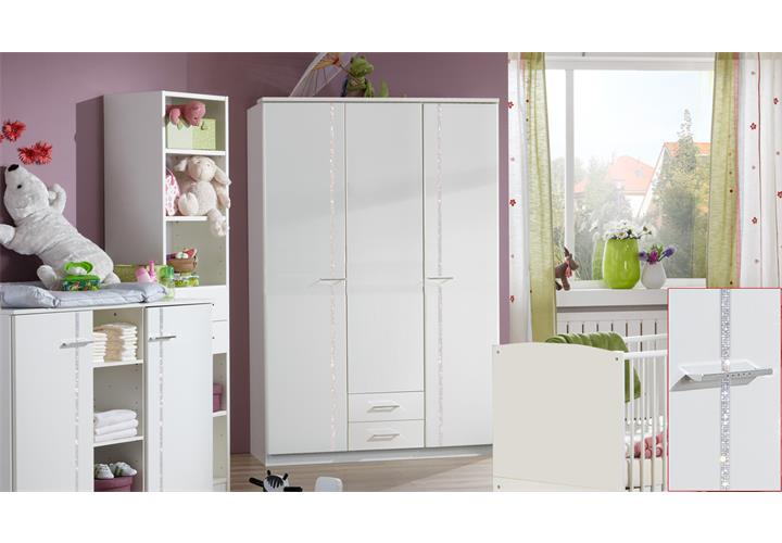 kleiderschrank wei strass babyzimmer elly dreht renschrank 3 t rig breite 135cm ebay. Black Bedroom Furniture Sets. Home Design Ideas