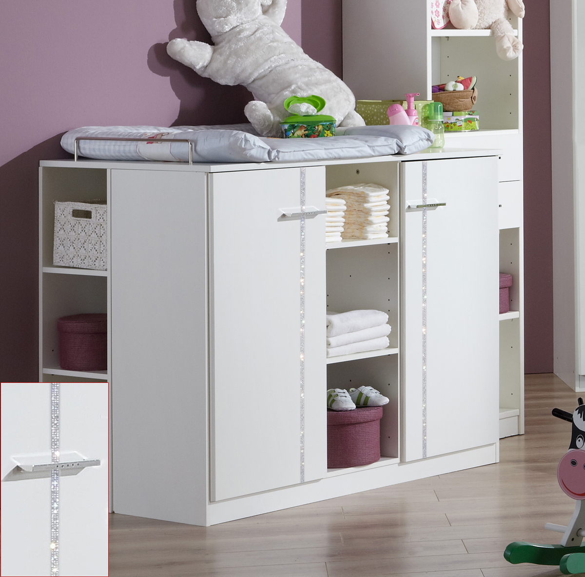 wickelkommode wei strass babyzimmer elly kommode mit. Black Bedroom Furniture Sets. Home Design Ideas