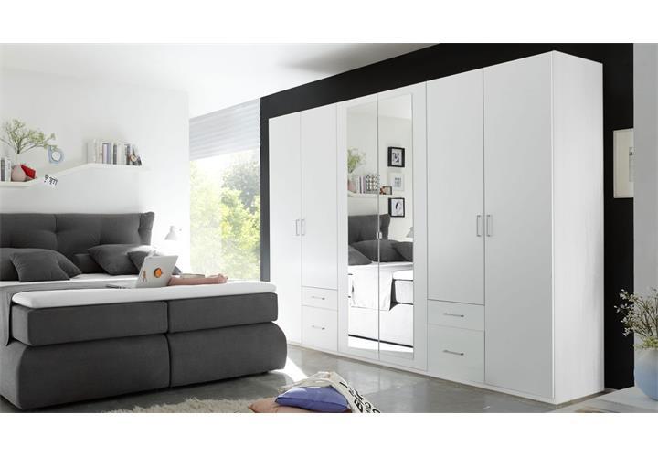 kleiderschrank fly schrank 6 t rig schlafzimmer wei mit spiegel b 270 cm ebay. Black Bedroom Furniture Sets. Home Design Ideas