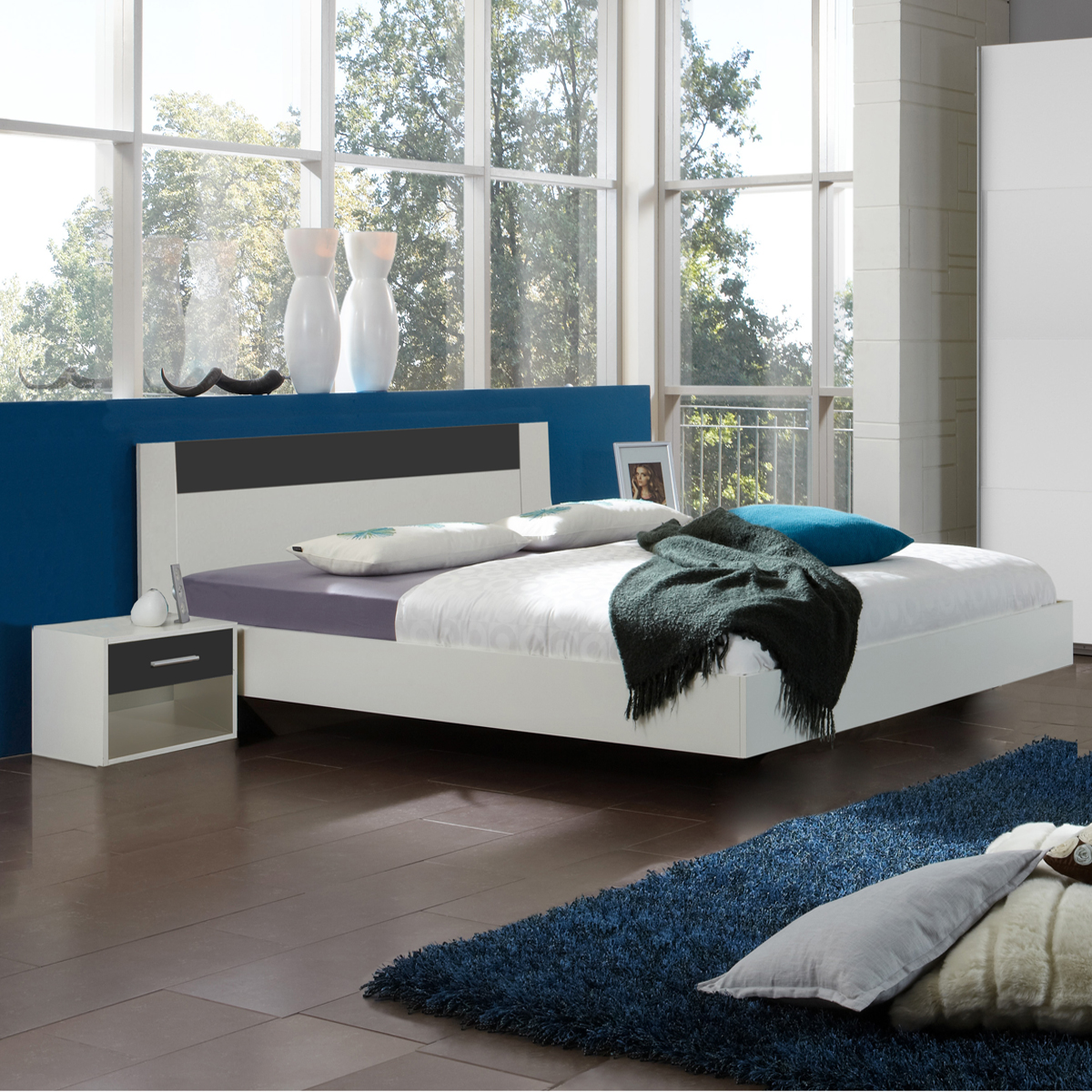 bettanlage ilona futonbett 180x200 nachttisch in alpinwei und anthrazit ebay. Black Bedroom Furniture Sets. Home Design Ideas