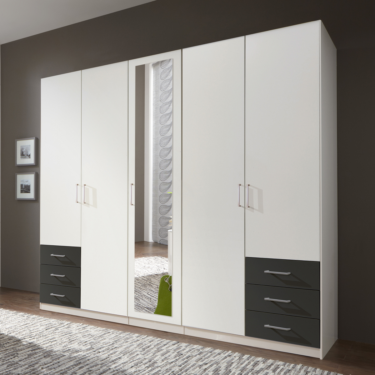 kleiderschrank f gen dreht renschrank alpinwei anthrazit schrank mit spiegel ebay. Black Bedroom Furniture Sets. Home Design Ideas