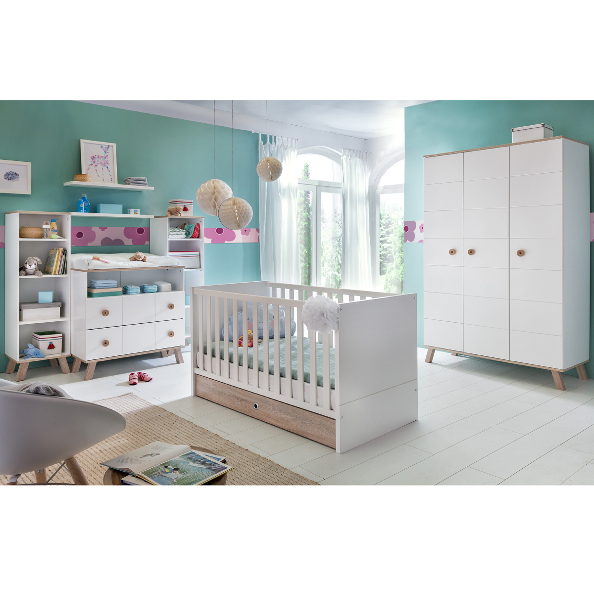 babyzimmer set billu in alpinwei und eiche s gerau kinderzimmer ebay. Black Bedroom Furniture Sets. Home Design Ideas