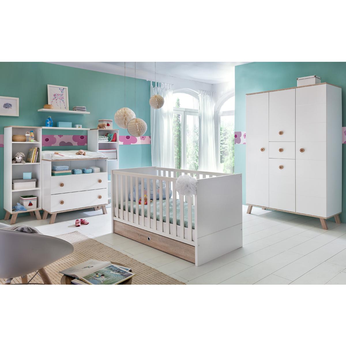 Babyzimmer Set Billu in Alpinweiß und Eiche Sägerau Kinderzimmer ...