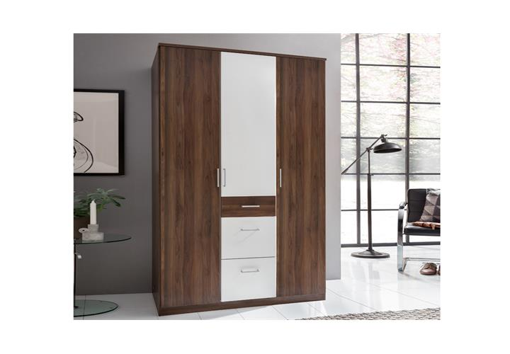 kleiderschrank click in nussbaum und alpinwei. Black Bedroom Furniture Sets. Home Design Ideas