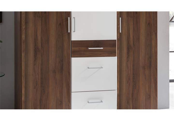 kleiderschrank click in nussbaum und alpinwei. Black Bedroom Furniture Sets. Home Design Ideas