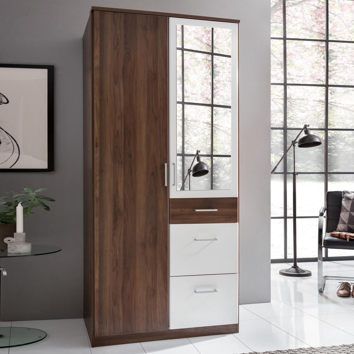 kleiderschrank click nussbaum und alpinwei. Black Bedroom Furniture Sets. Home Design Ideas
